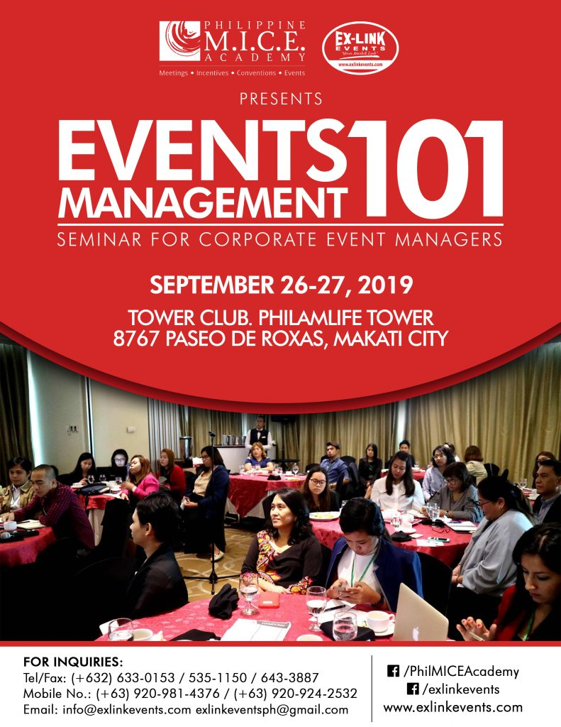 Event Management Seminar Philippines 2019
